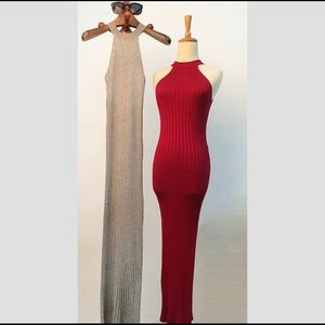NEW Sleeveless Party Gown Stretch Red Wine Dress